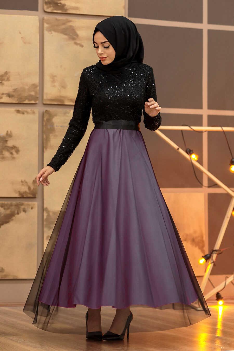 Lila Hijab Evening Dress 50040LILA