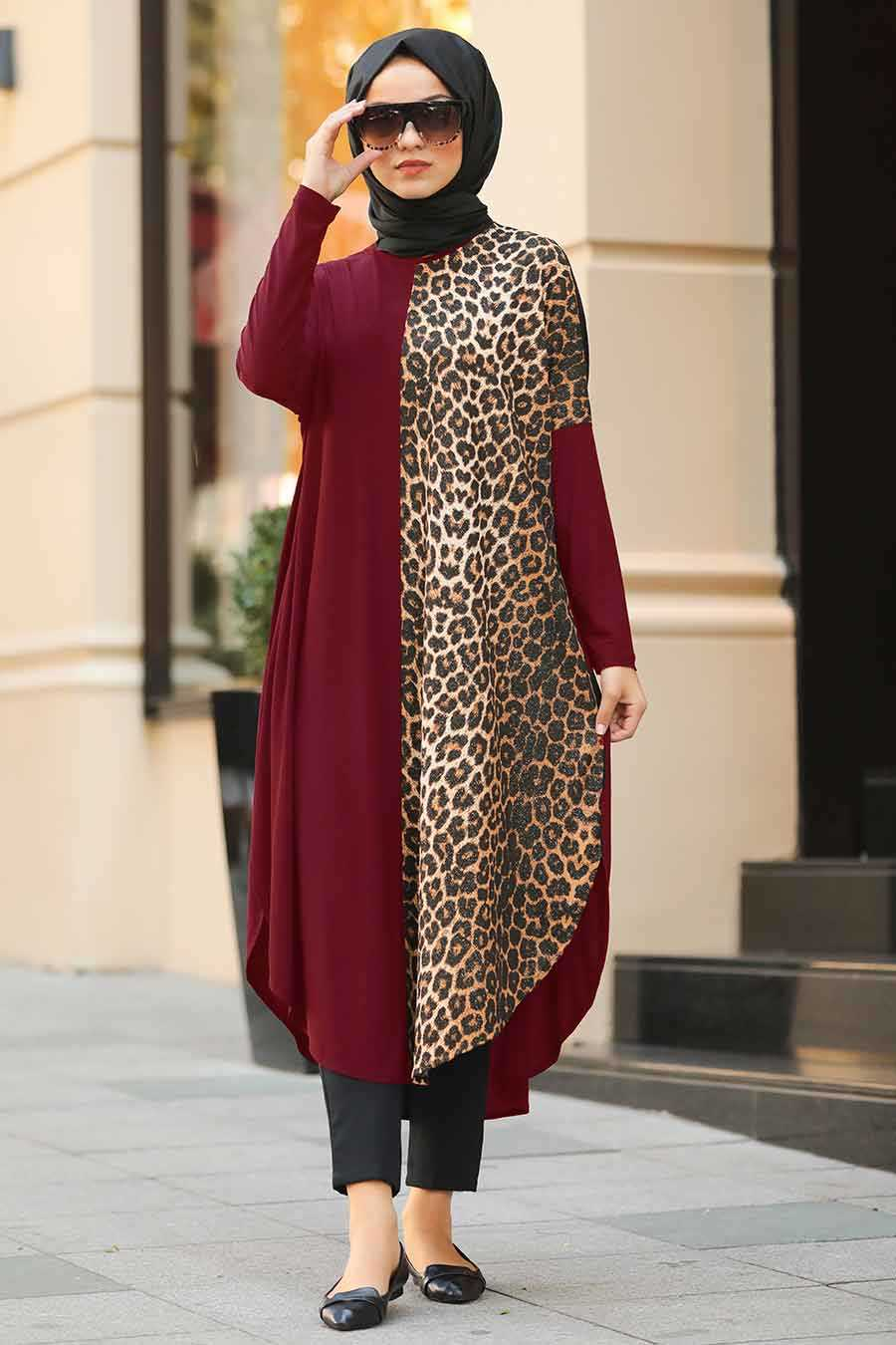 Lopared Patterned Claret Red Hijab Tunic 4968BR