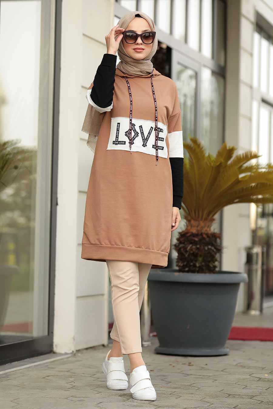 Love Yazılı Camel Tesettür Sweatshirt 1160C