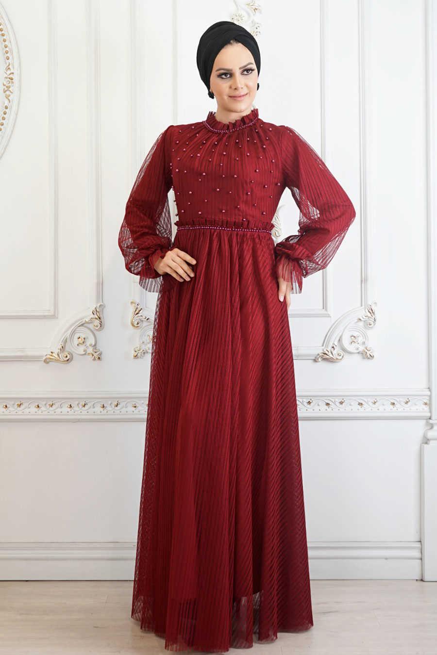 Mahogany Hijab Evening Dress 22450BR