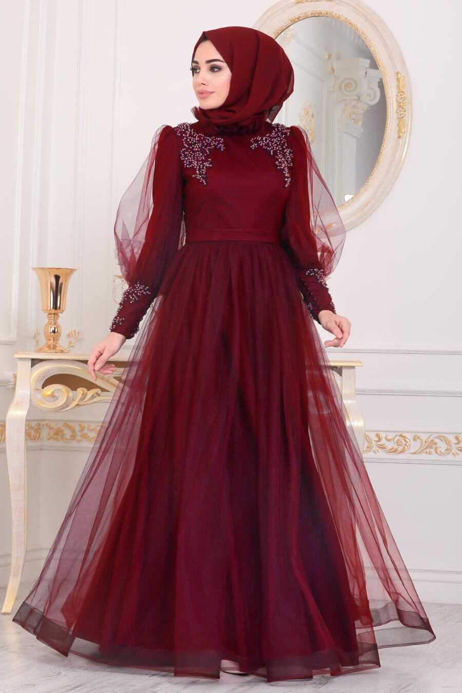 Mahogany Hijab Evening Dress 40320BR