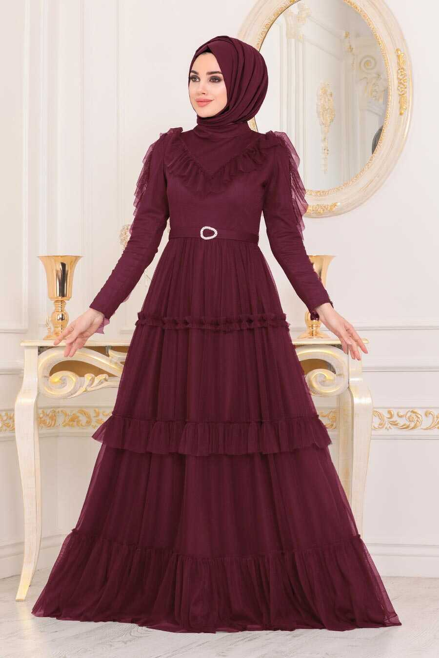Mahogany Hijab Evening Dress 4097BR
