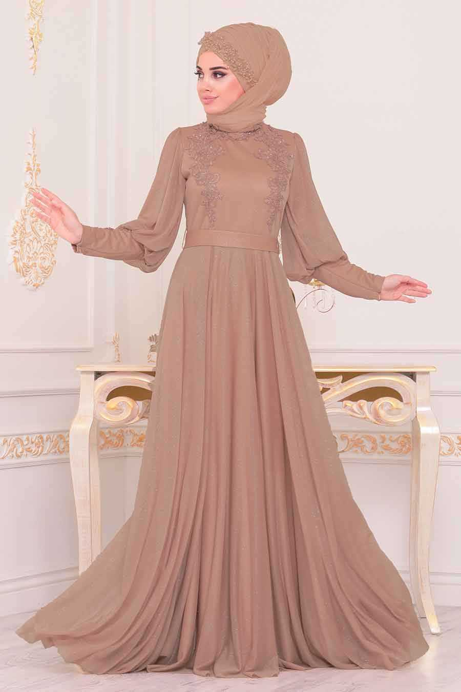 Mink Color Hijab Evening Dress 3927V