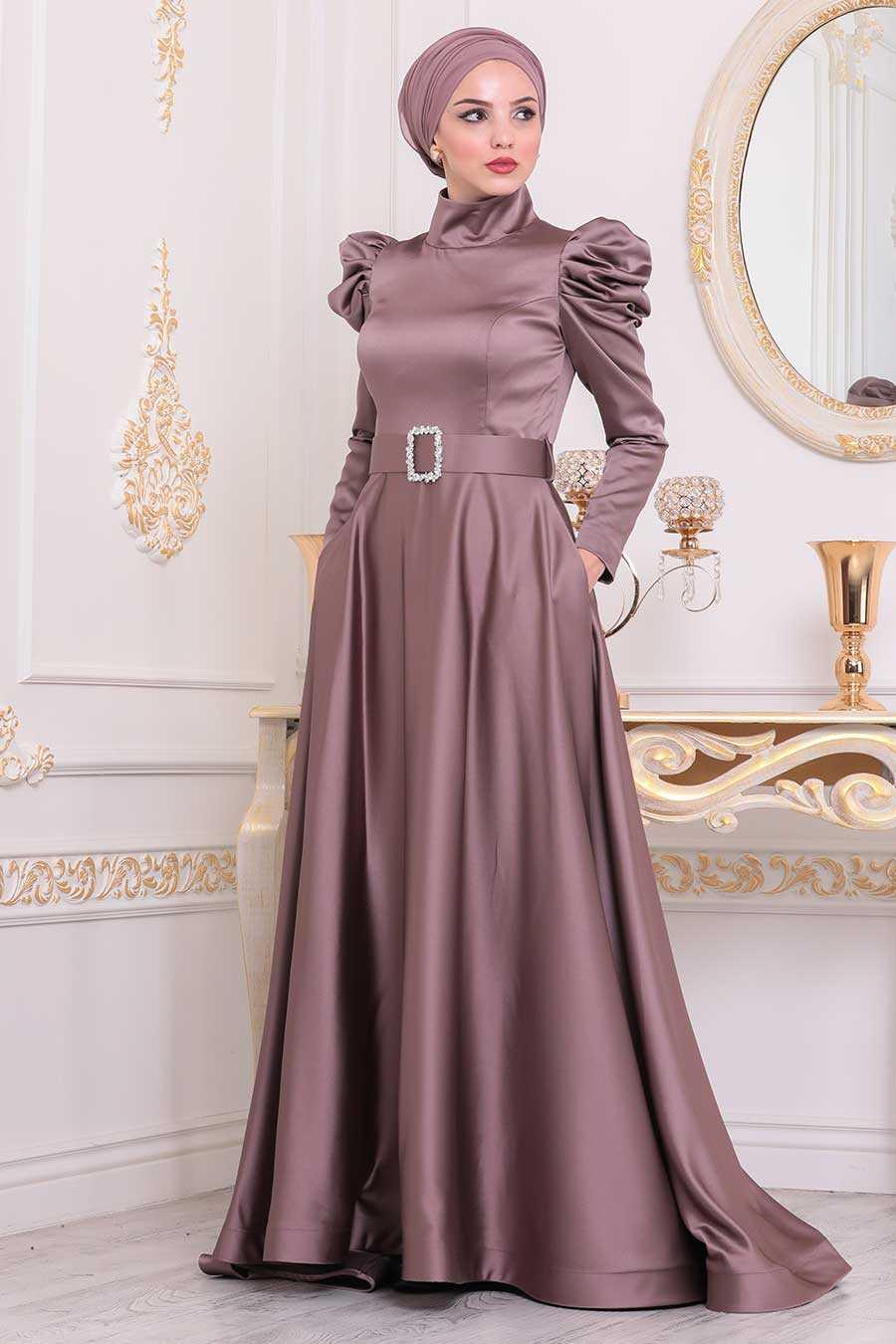 Mink Color Hijab Evening Dress 40801V