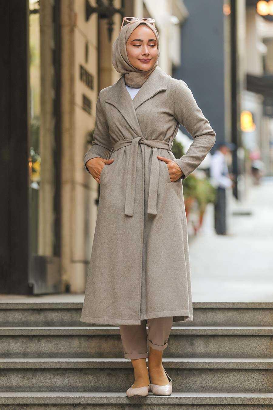 Mink Hijab Coat 5173V