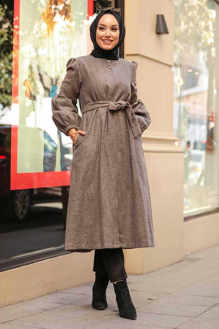 Mink Hijab Coat 90741V