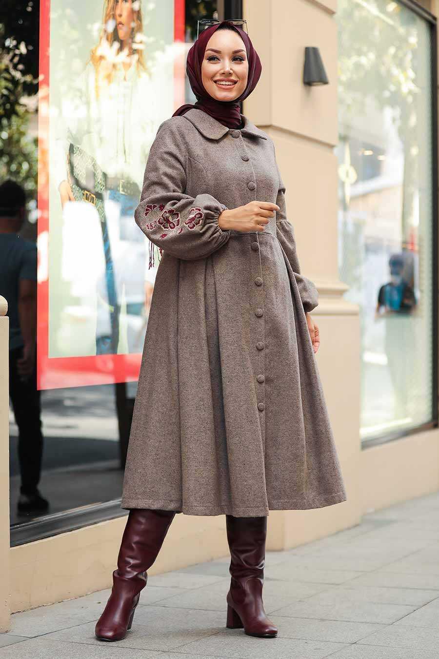 Mink Hijab Coat 9078V