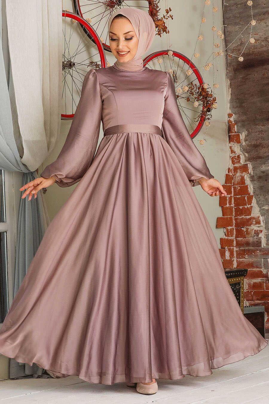 Mink Hijab Evening Dress 5215V
