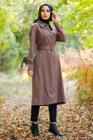 Mink Hijab Trench Coat 88640V - Thumbnail