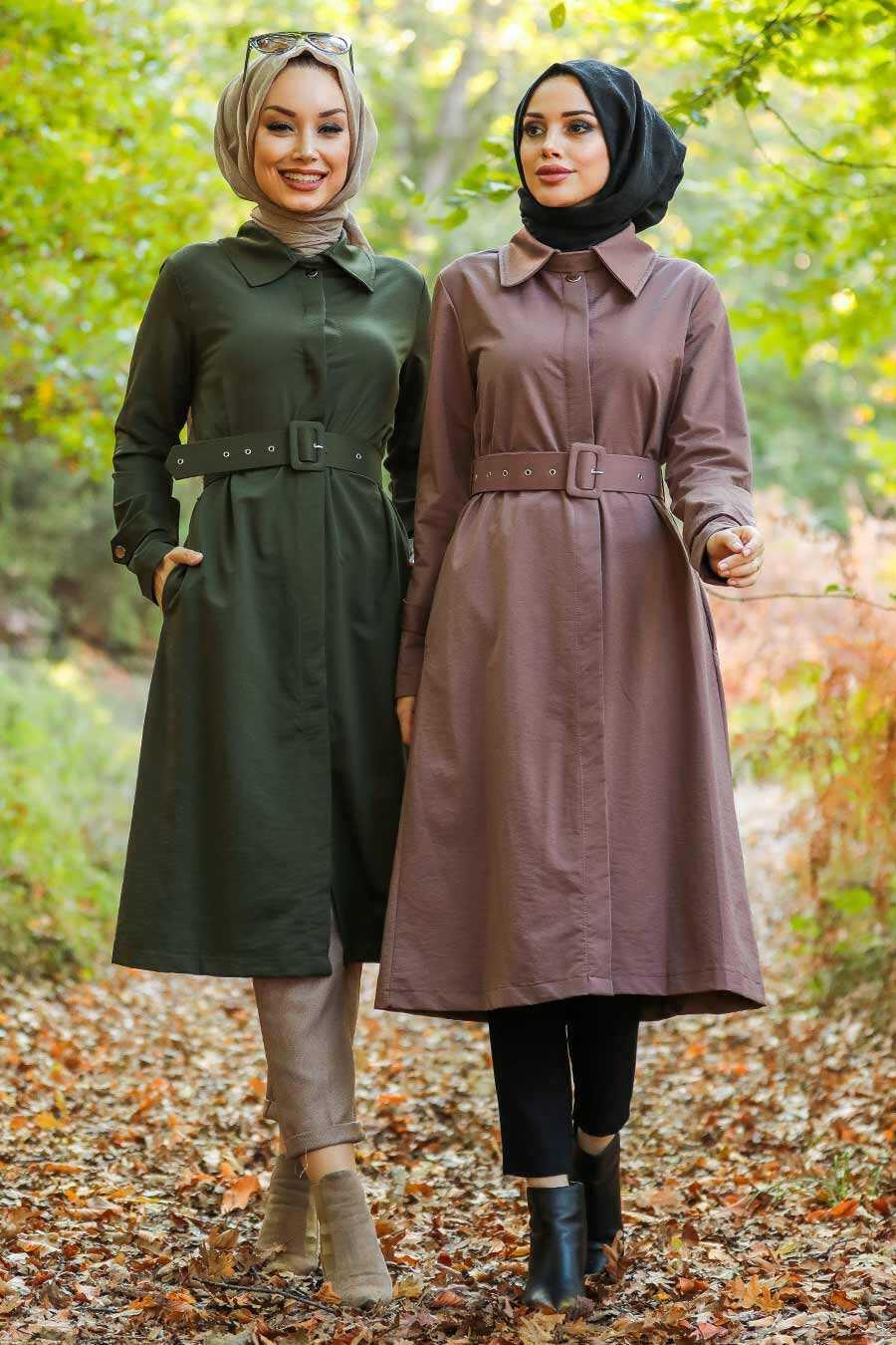 Mink Hijab Trench Coat 88640V