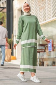 Mint Hijab Dual Suit Dress 9681MINT - Thumbnail