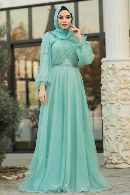 Mint Hijab Evening Dress 2140MİNT