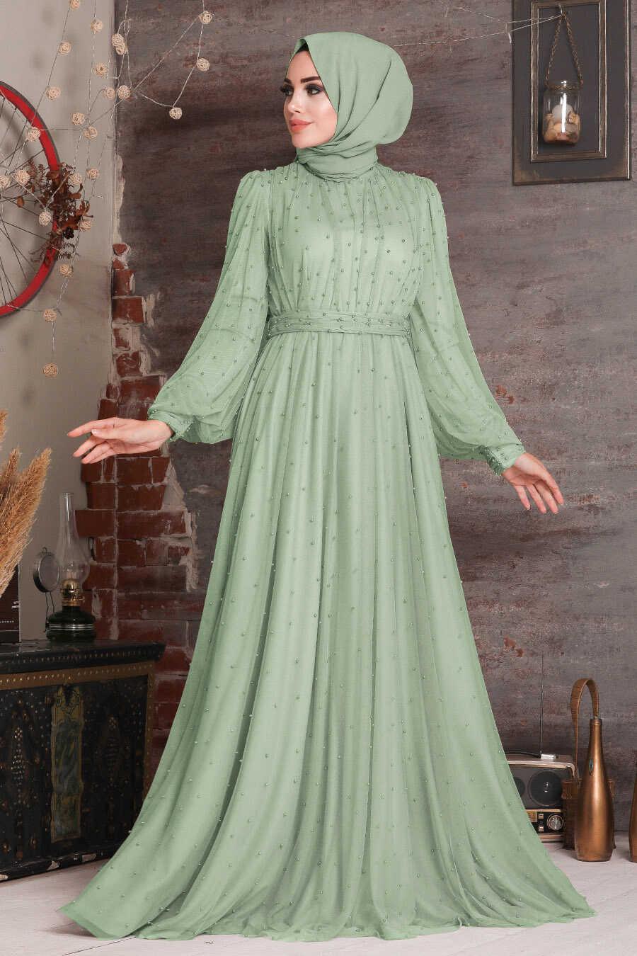 Mint Hijab Evening Dress 2176MINT