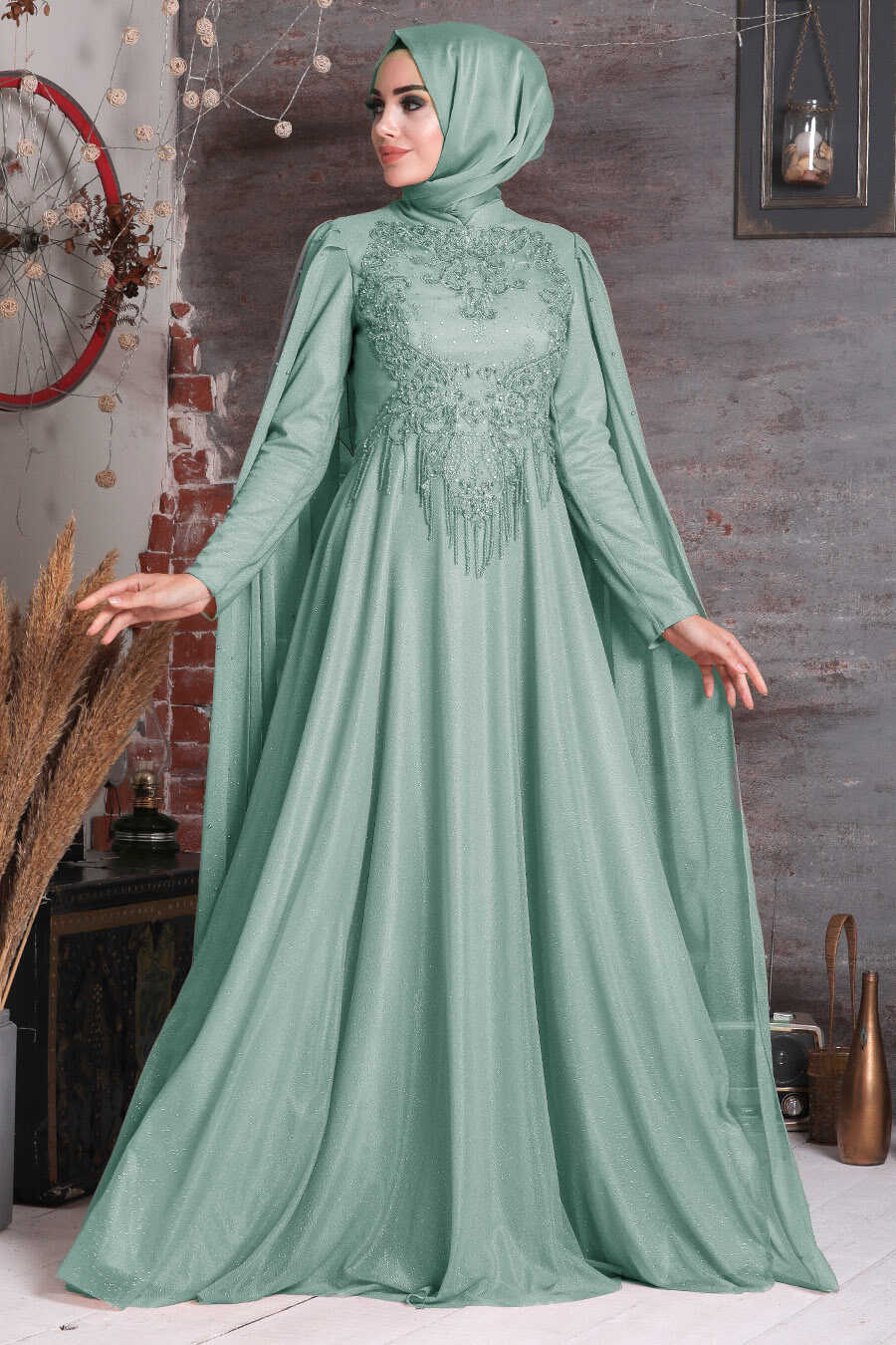 Mint Hijab Evening Dress 2177MINT
