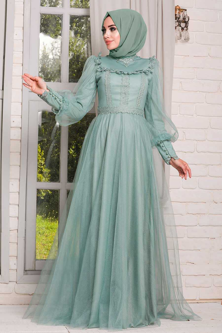 Mint Hijab Evening Dress 21790MINT