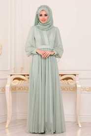 Neva Style - Mint Hijab Evening Dress 30632MINT