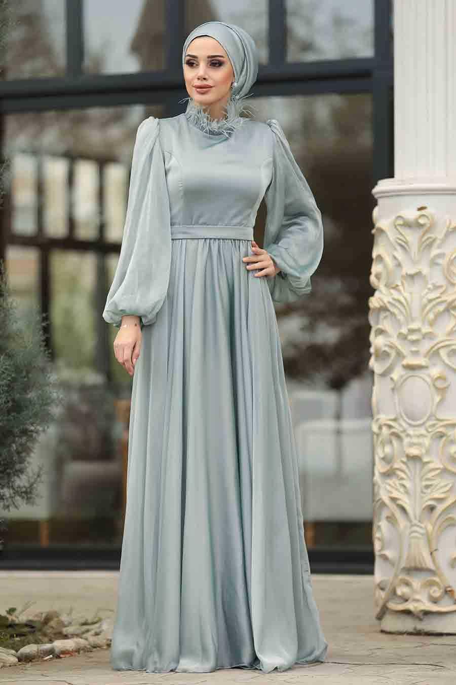 Mint Hijab Evening Dress 3925MINT