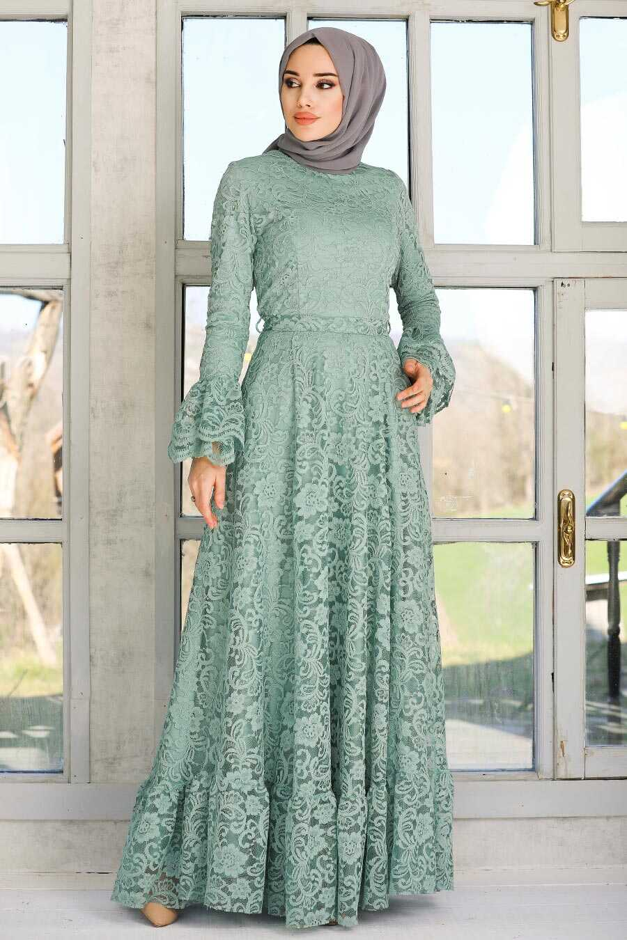 Mint Hijab Evening Dress 5476MINT