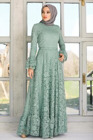 Mint Hijab Evening Dress 5476MINT - Thumbnail