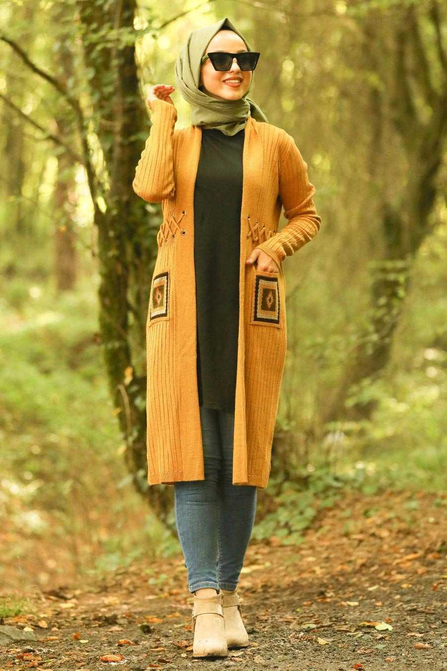 Mustard Hijab Cardigan 14711HR