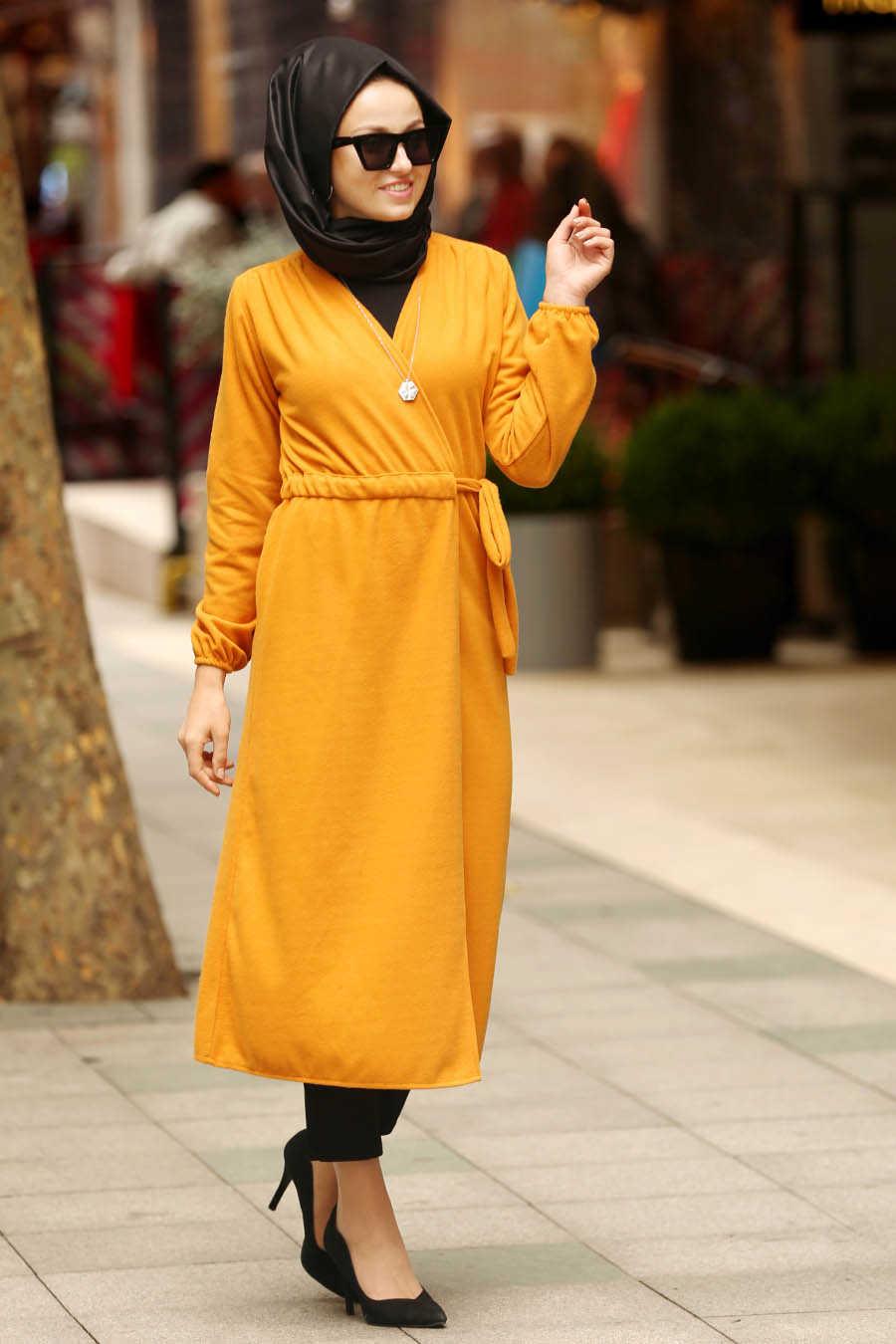 Mustard Hijab Coat 2473HR