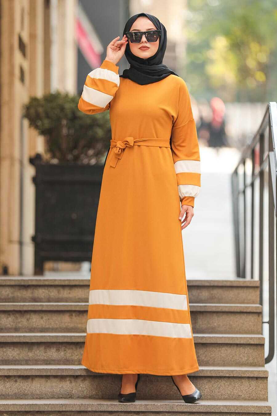 Mustard Hijab Dress 207HR