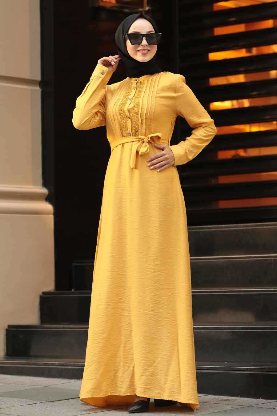 Mustard Hijab Dress 39710HR