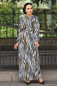 Mustard Hijab Dress 4687HR - Thumbnail