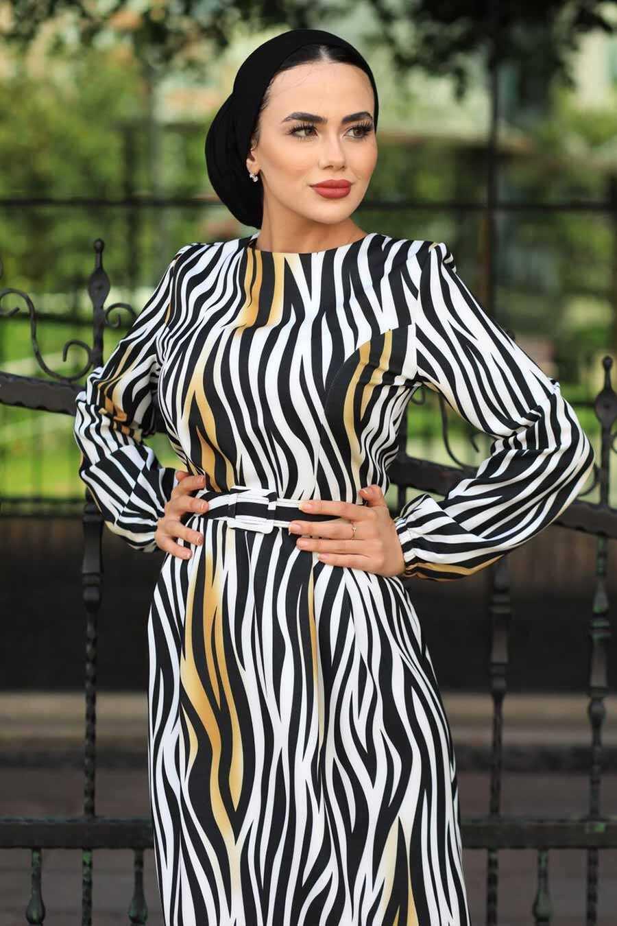 Mustard Hijab Dress 4687HR