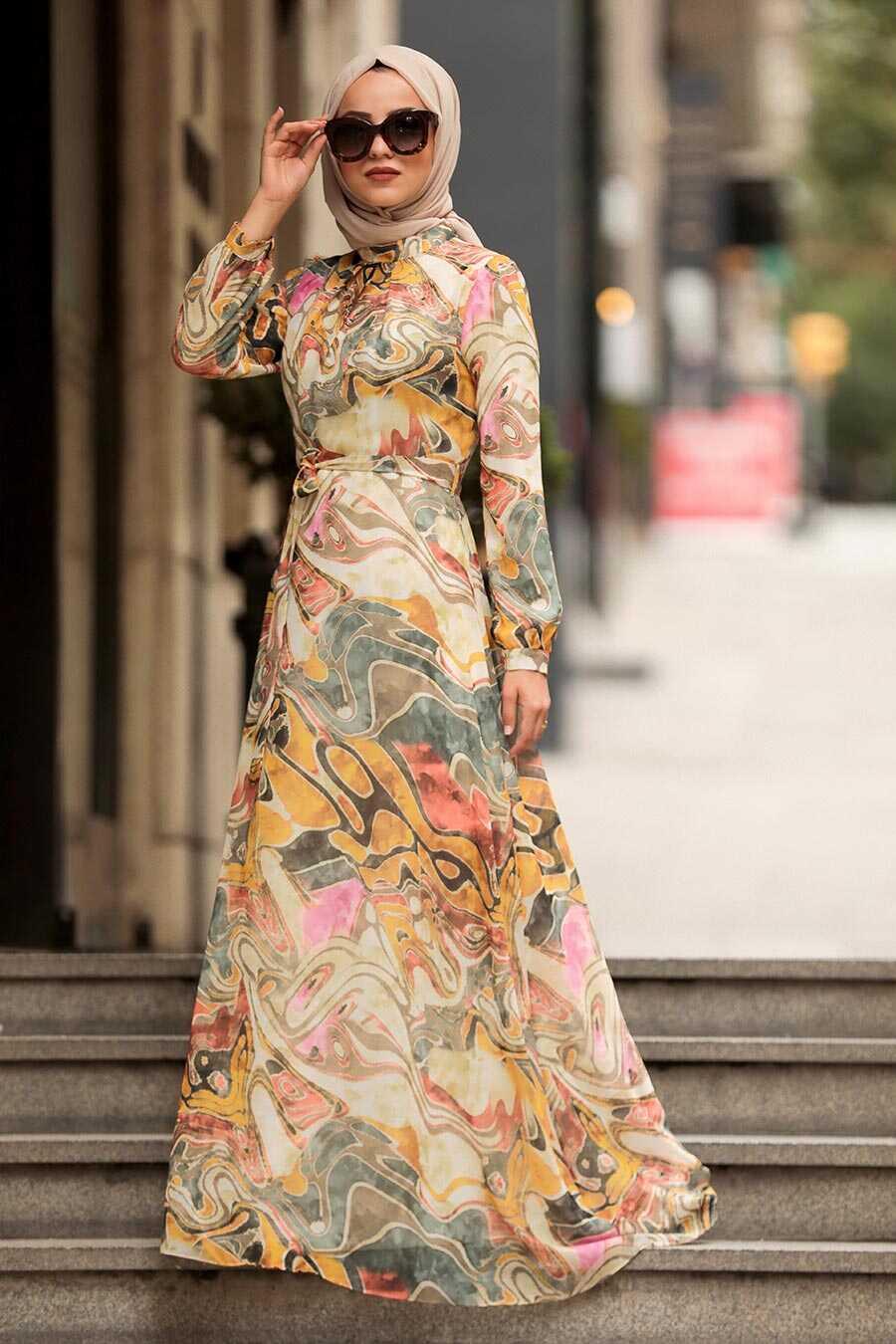 Mustard Hijab Dress 81547HR