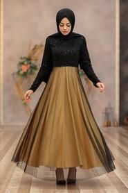 Mustard Hijab Evening Dress 50040HR - Thumbnail