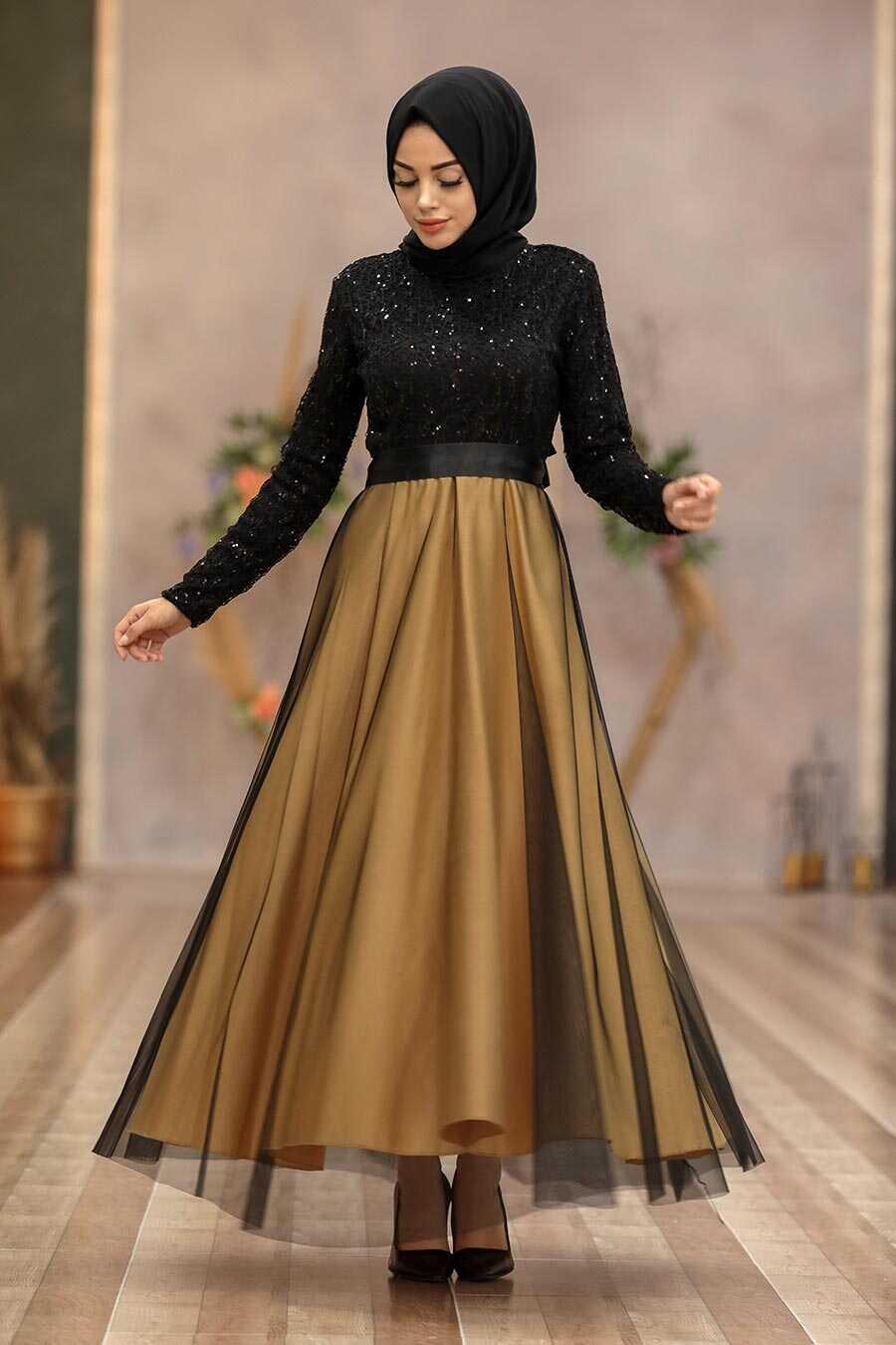 Mustard Hijab Evening Dress 50040HR