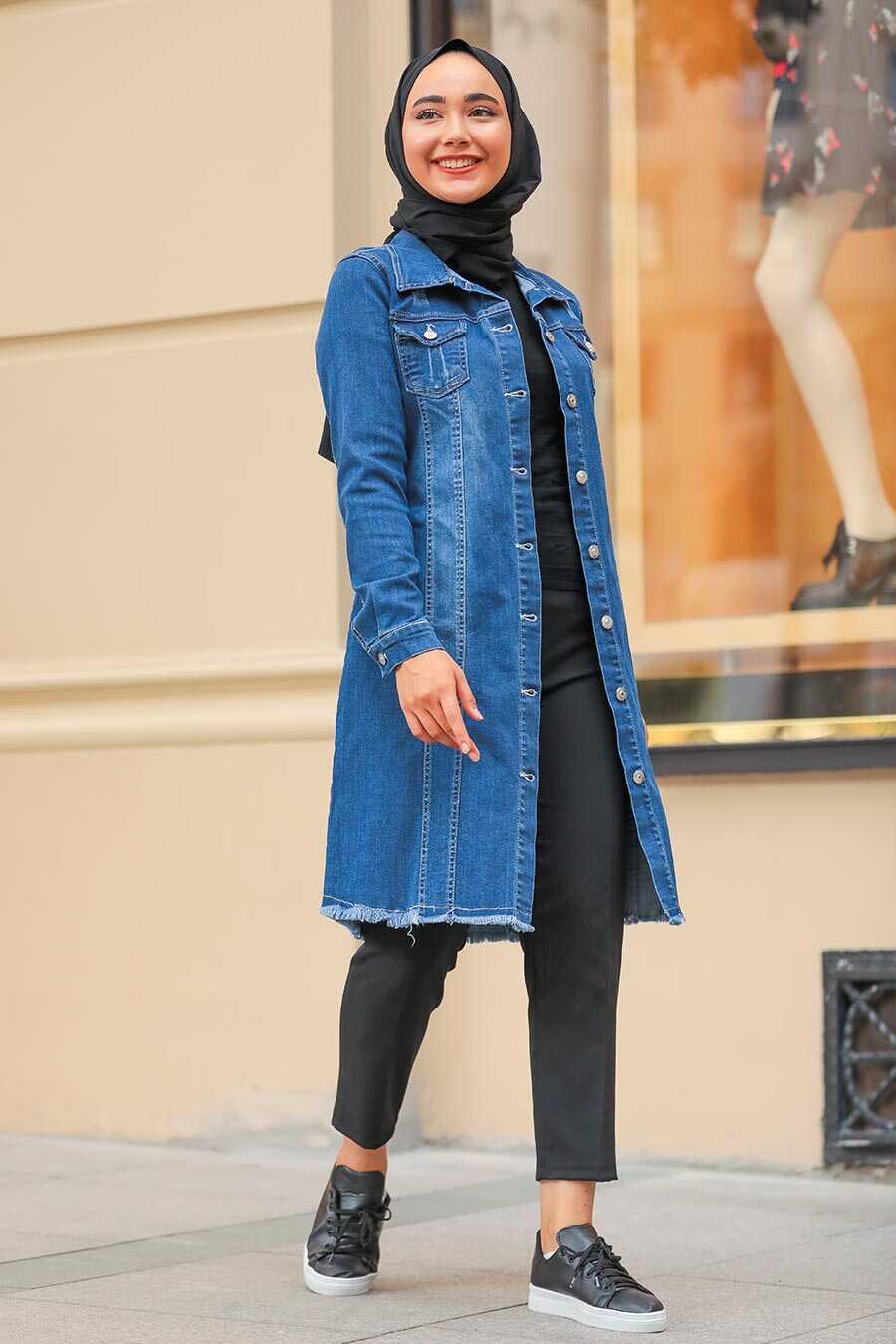 Navy Blue Hijab Denim Jacket 10646L