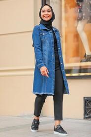 Navy Blue Hijab Denim Jacket 10646L - Thumbnail