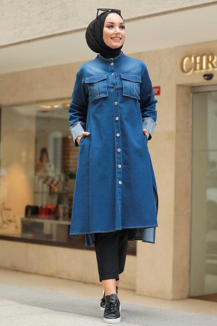 Navy Blue Hijab Denim Tunic 5985L