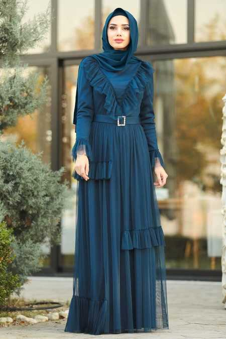 Navy Blue Hijab Dress 2134L
