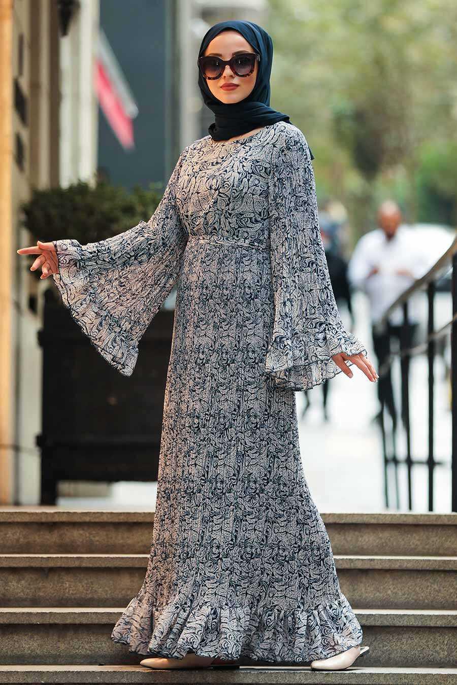 Navy Blue Hijab Dress 23811L