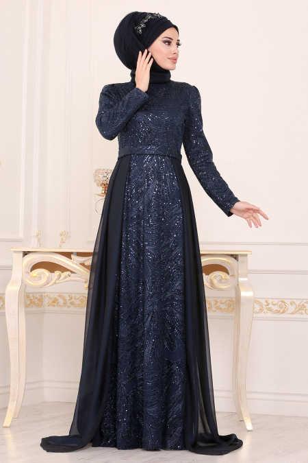 Navy Blue Hijab Evening Dress 196711L