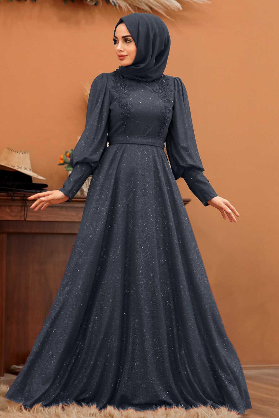 Navy Blue Hijab Evening Dress 21521L