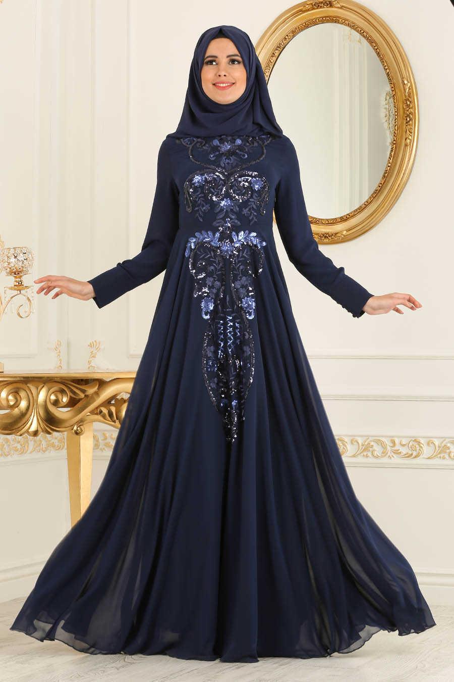 Navy Blue Hijab Evening Dress 7533L