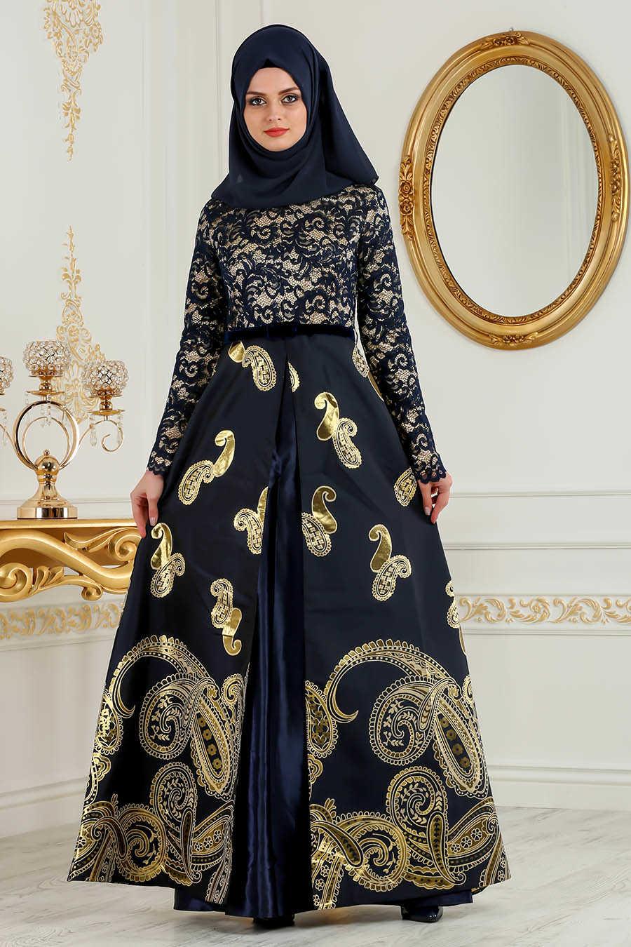 Navy Blue Hijab Evening Dress 82447L