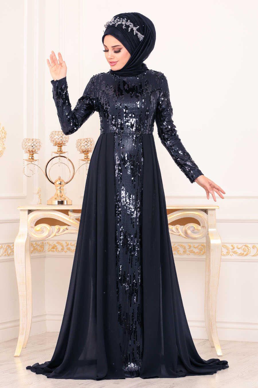 Neva Style - Navy Blue Hijab Evening Dress 8590L
