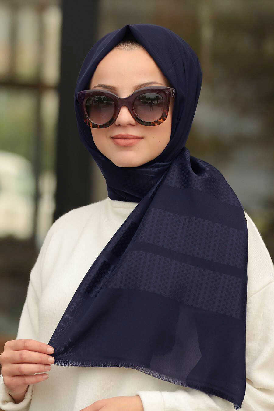 Navy Blue Hijab Shawl 7505L