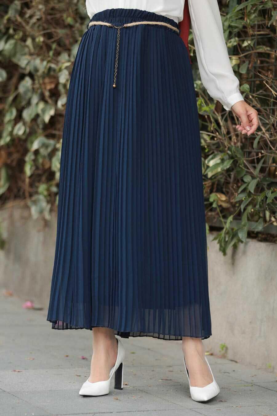 Navy Blue Hijab Skirt 1819L