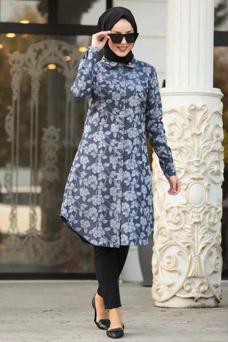 Navy Blue Hijab Tunic 4950L