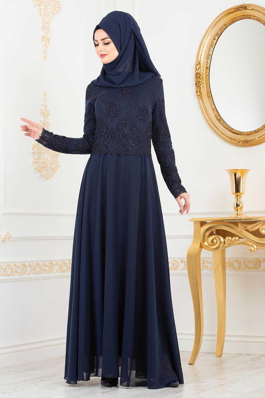 Navy Blue Hijab Evening Dress 8238L