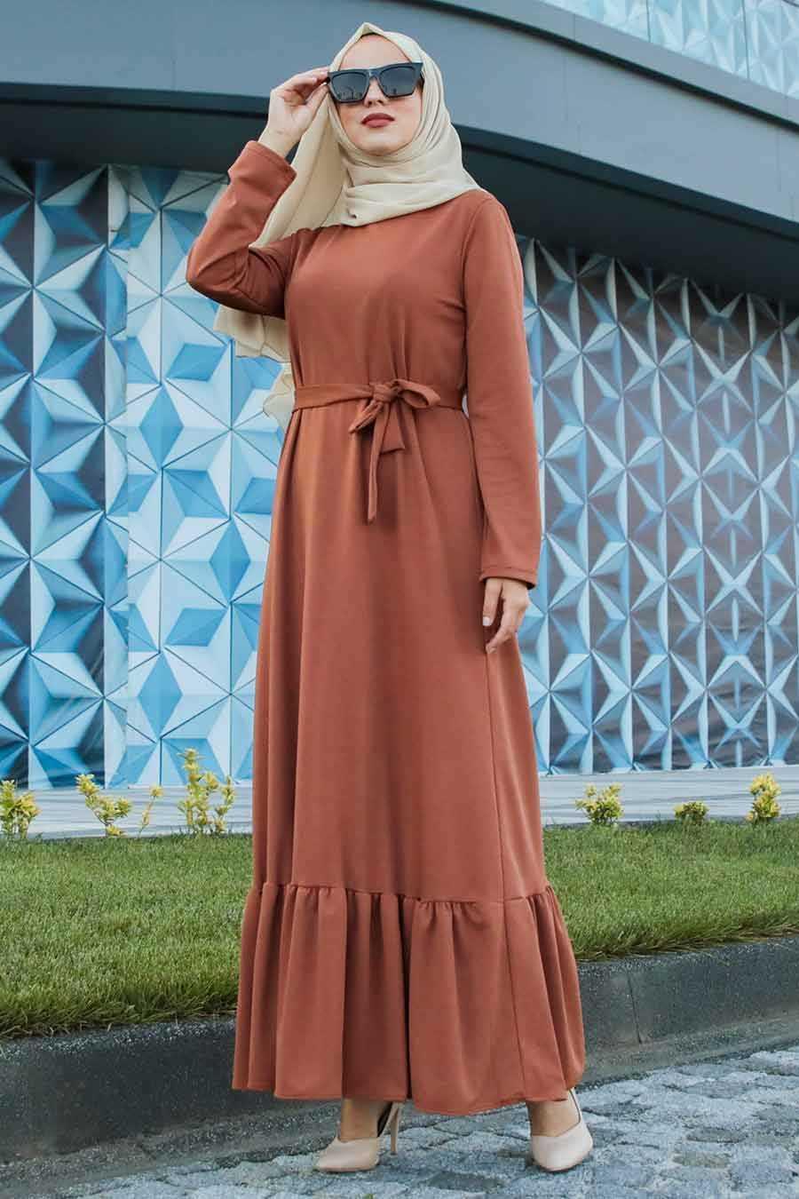 Altı Fırfırlı Taba Tesettür Elbise 2242TB