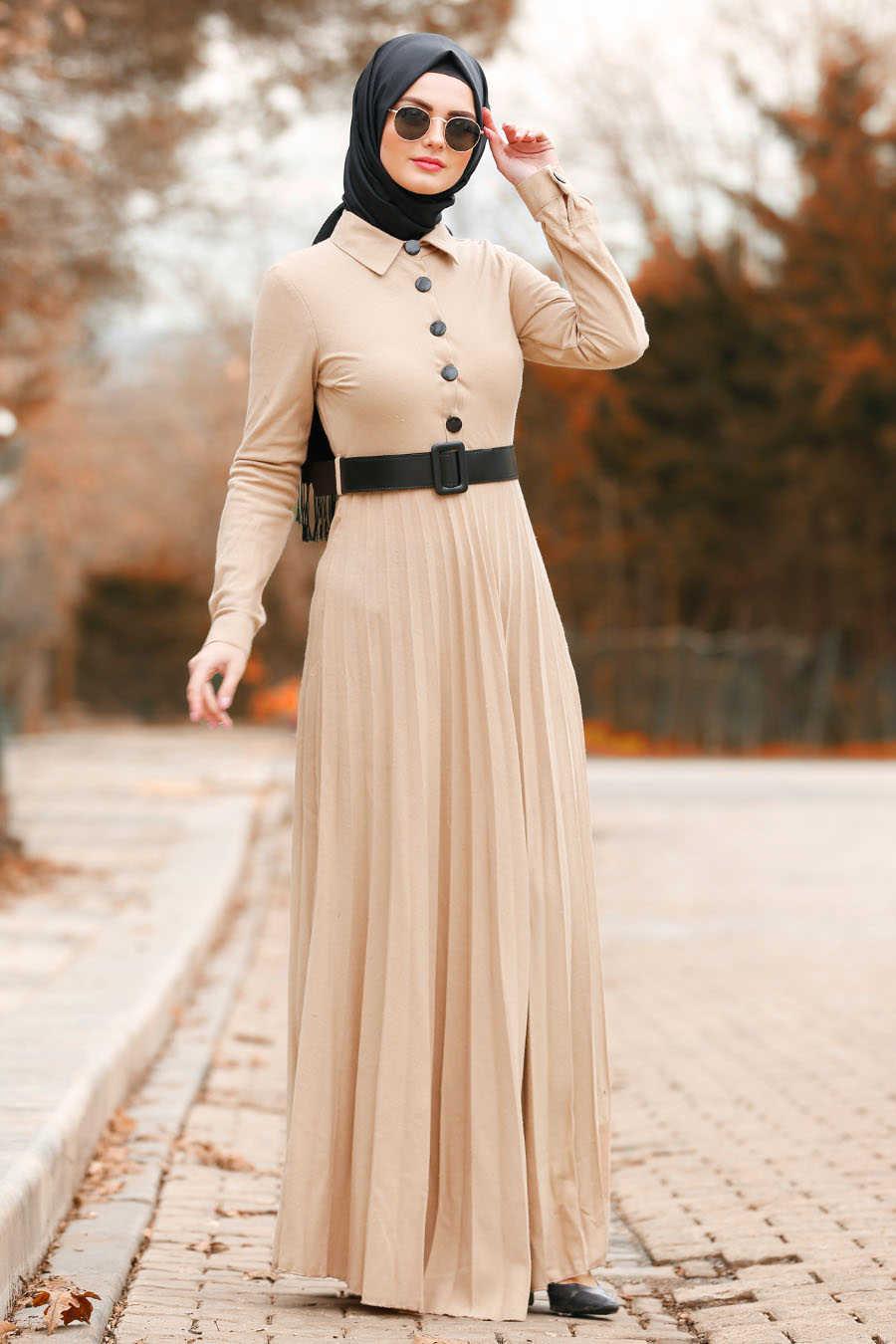 Düğmeli Kemerli Bej Tesettür Elbise 8396BEJ