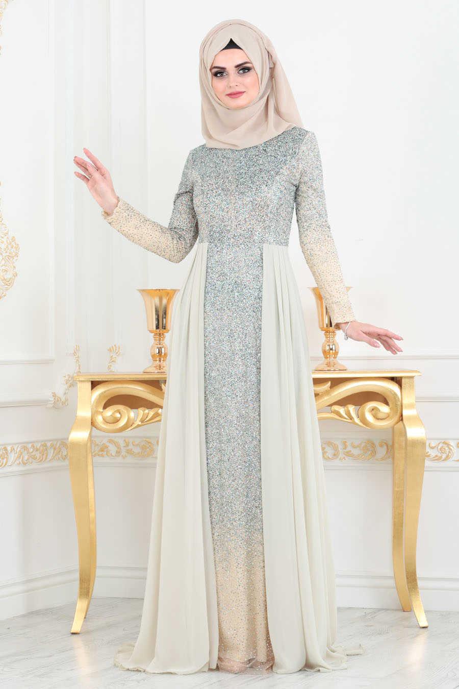 Simli Bej Tesettür Abiye Elbise 90020BEJ