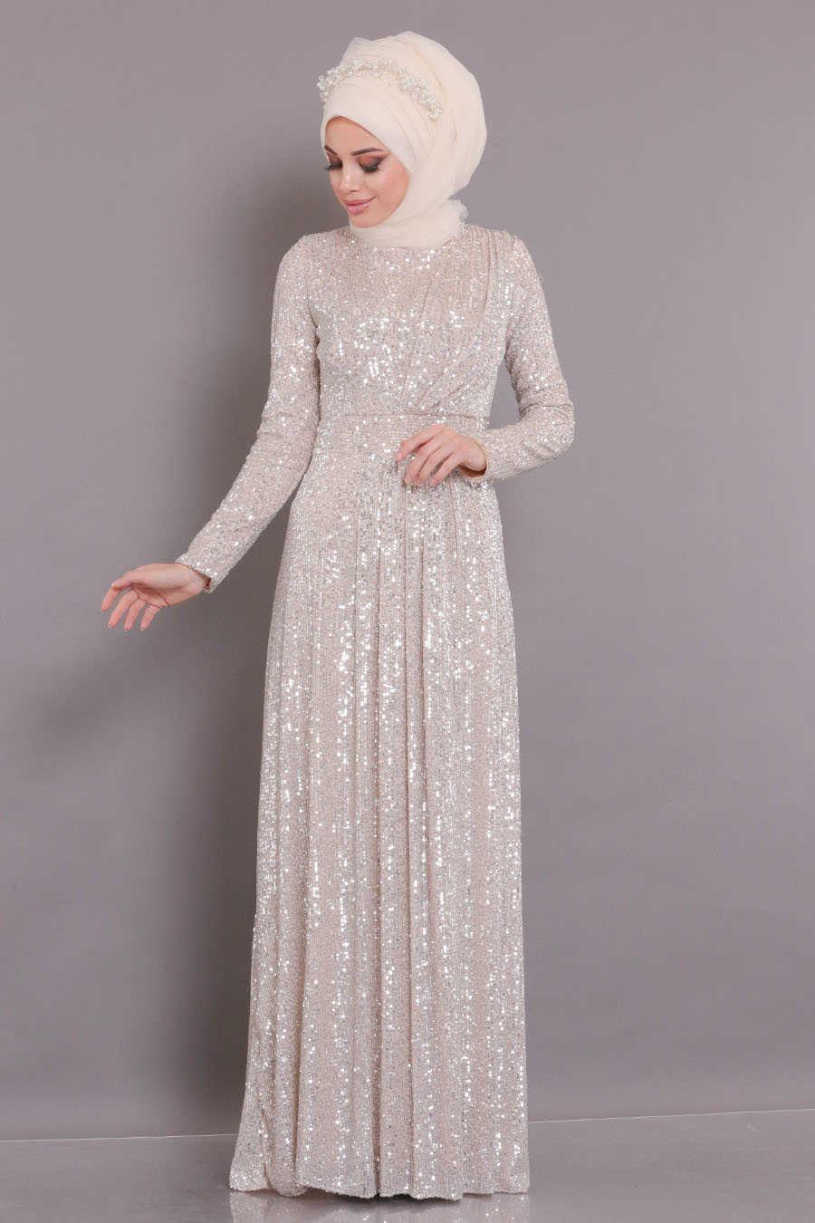Pul Payetli Bej Tesettür Abiye Elbise 9106BEJ